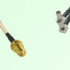 Splitter Y Type Cable RP SMA Bulkhead Female to MS147 Male Right Angle