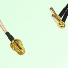Splitter Y Type Cable RP SMA Bulkhead Female to MS156 Male Right Angle
