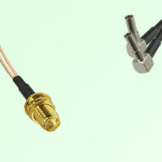 Splitter Y Type Cable RP SMA Bulkhead Female to MS162 Male Right Angle