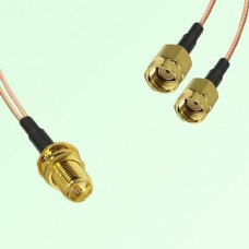 Splitter Y Type Cable RP SMA Bulkhead Female to RP SMA Male