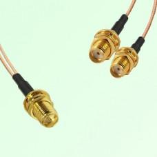 Splitter Y Type Cable RP SMA Bulkhead Female to SMA Bulkhead Female
