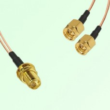 Splitter Y Type Cable RP SMA Bulkhead Female to SMA Male
