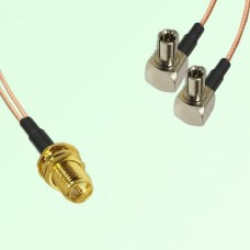 Splitter Y Type Cable RP SMA Bulkhead Female to TS9 Male Right Angle