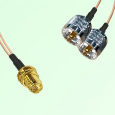 Splitter Y Type Cable RP SMA Bulkhead Female to UHF Male