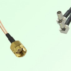 Splitter Y Type Cable RP SMA Male to MS147 Male Right Angle