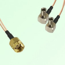 Splitter Y Type Cable RP SMA Male to TS9 Male Right Angle