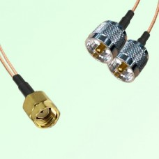 Splitter Y Type Cable RP SMA Male to UHF Male