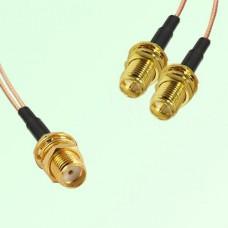 Splitter Y Type Cable SMA Bulkhead Female to RP SMA Bulkhead Female