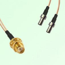 Splitter Y Type Cable SMA Bulkhead Female to TS9 Male