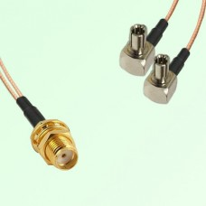 Splitter Y Type Cable SMA Bulkhead Female to TS9 Male Right Angle
