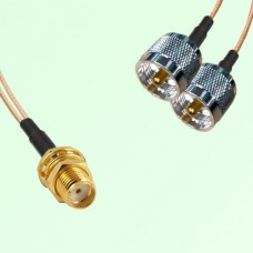 Splitter Y Type Cable SMA Bulkhead Female to UHF Male