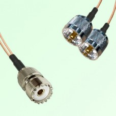 Splitter Y Type Cable UHF Female to UHF Male